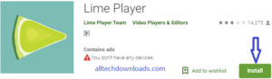 Install Lime Player For PC