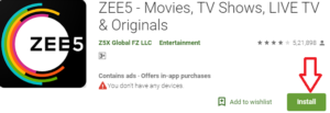 Install ZEE5 TV For PC