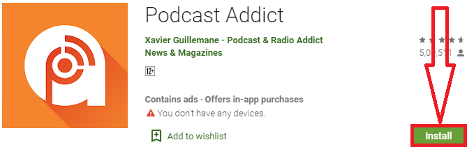 install podcast addict for pc