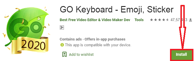 install go keyboard for pc