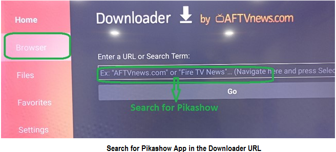 search for pikashow in the URL